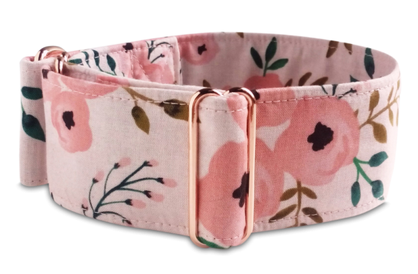 Hundehalsband rosegold, floral, watercolor