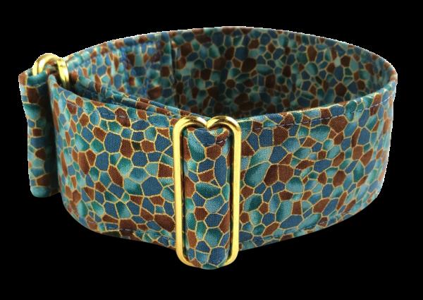 Hundehalsband mosaics, gold hardware 5cm