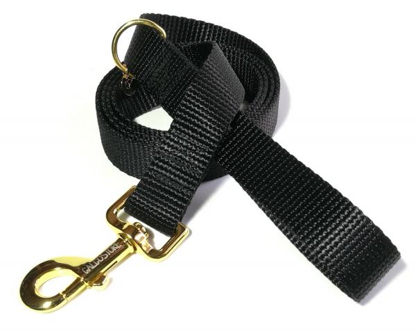 Hundeleine schwarz, gold
