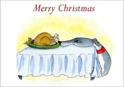 Weihnachtskarte Windhund