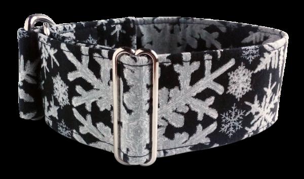 Hundehalsband schwarz Schneeflocken
